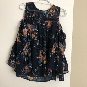 Lucky brand open shoulder floral blouse